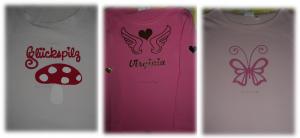 Virginias Shirts mit neuen Aufbügelmotiven