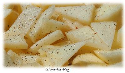 Vanille Zucker über Äpfeln
