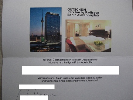 unser gewonnener Gutschein für zwei Hotelübernachtungen im Park Inn Hotel in Berlin