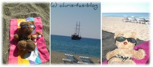 Bloggi am Strand in der Türkei