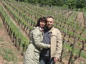 Mein Mann und ich in den Weinbergen