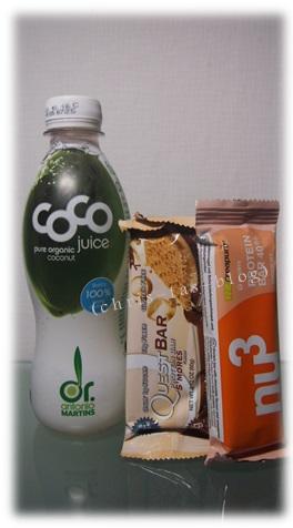 coconut juice und Energy-Riegel nu3 Insider-Box