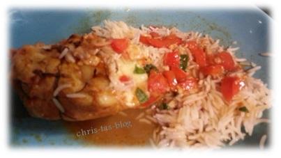 Hähnchenbrust mit Käse gefüllt und Reis