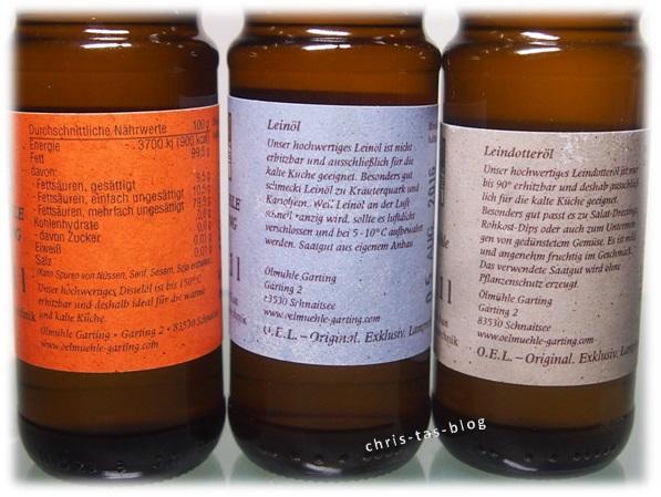 Anwendungshinweise auf den Ölflaschen