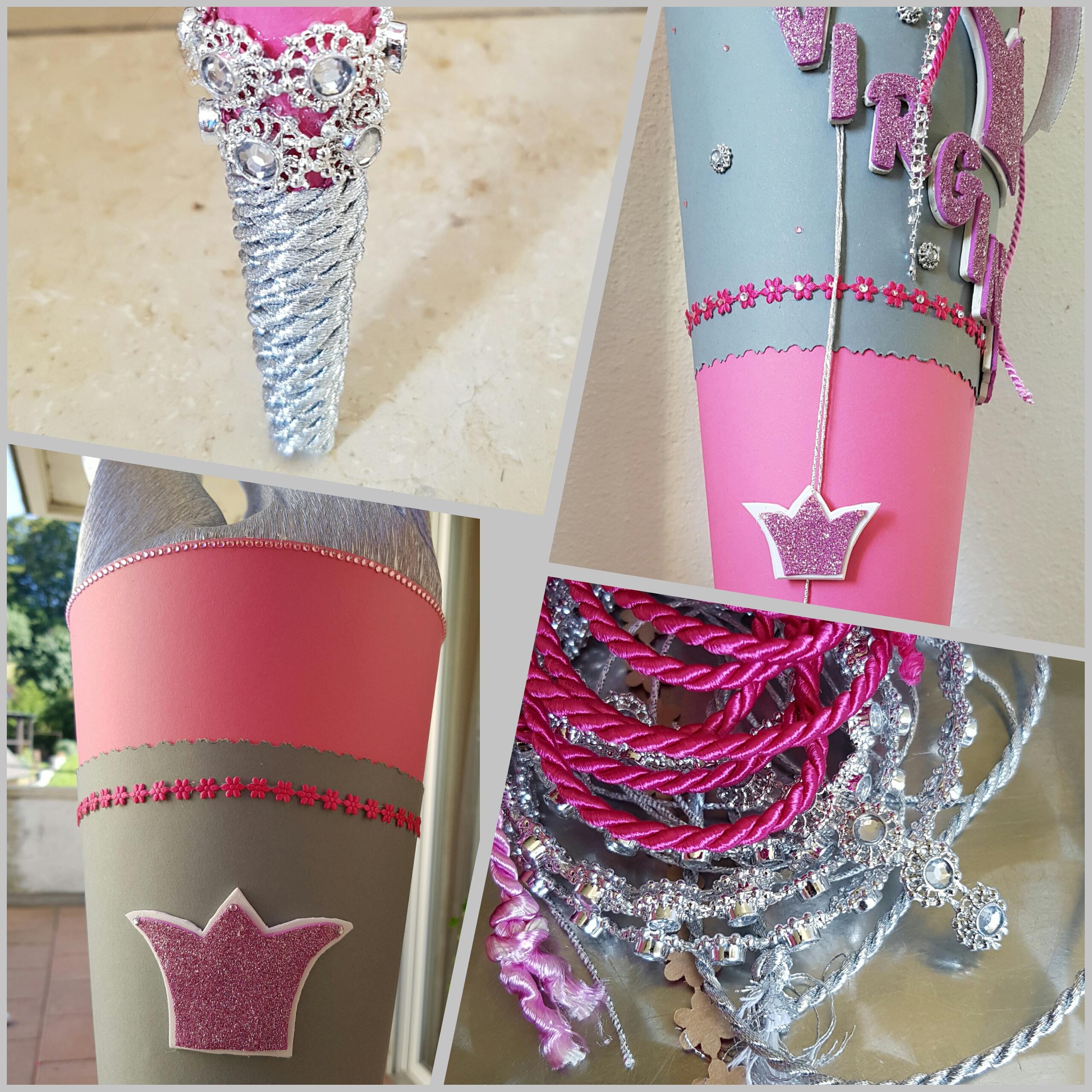 Details rosa Prinzessin Schultüte selber basteln