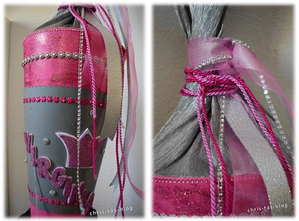 Rosa und silber Schleifen Schultüte selber basteln