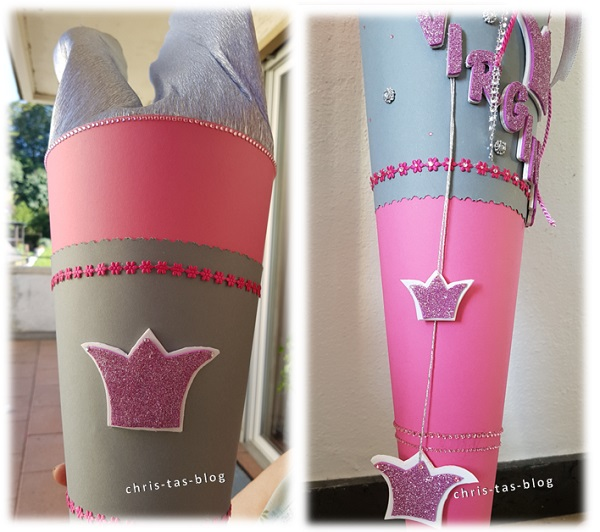 Schultüte Prinzessin Krone selber machen rosa silber #SchultütePrinzessin