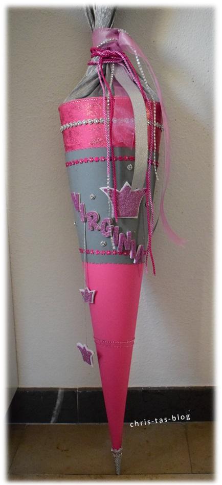 Schultüte Prinzessin selber basteln rosa glitzer Krone #SchultütePrinzessin