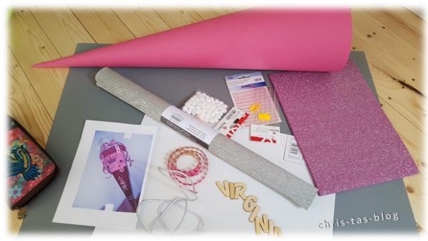 Zubehör Prinzessin Schultüte selber basteln rosa silber