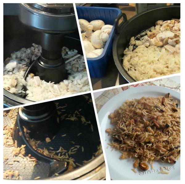 Reis mit Meeresfruechten Heißluftfriteuse