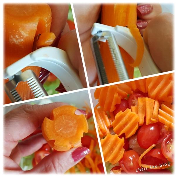 Karotten mit Garnierschäler und Waffelschneider bearbeitet