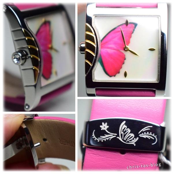Schmetterlingsuhr pink rosa silber gold time100