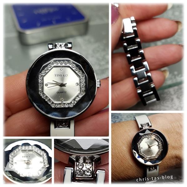 Armbanduhr weiß-Silber bling bling time100