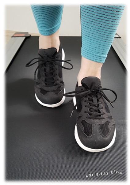Mit den neuen Schuhen auf meinem Laufband