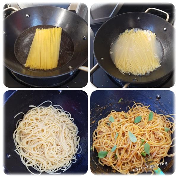 Pasta im Wok auf dem Gasgrill zubereitet