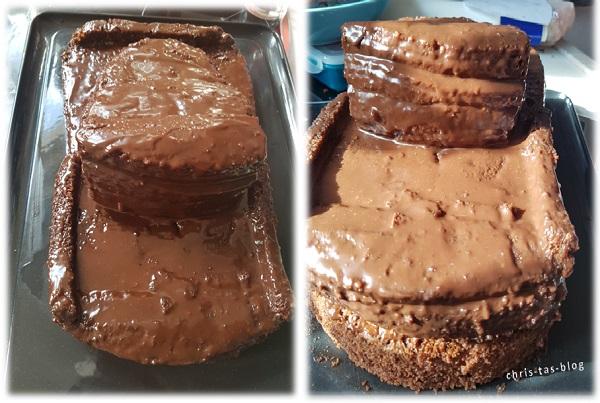 3D Torte mit Ganache bestreichen