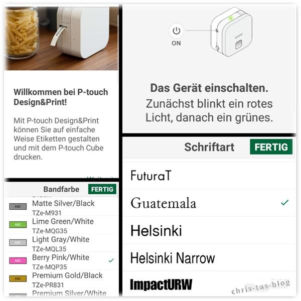 Etiketten - Einstellungen in der App