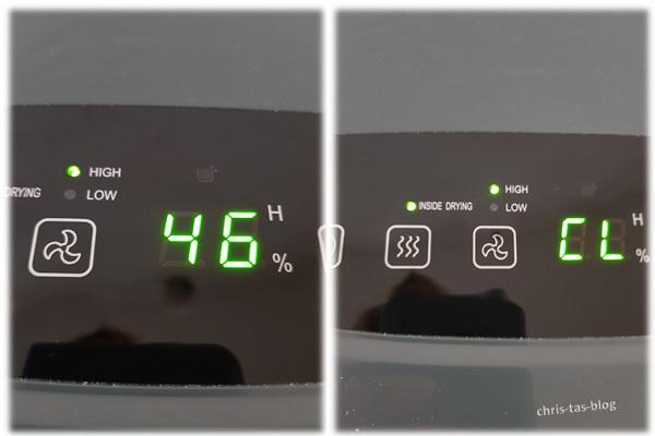 Display auf dem Klarstein DryFy10 Luftentfeuchter