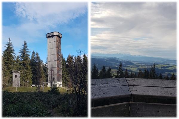 Schwarzer Grat Aussichtsturm und Blick auf die Alpen