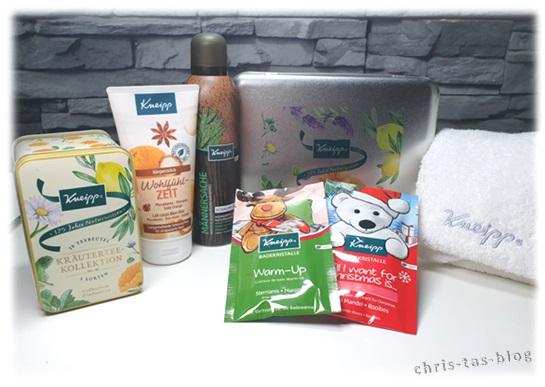 Kneipp Badekristalle, Wohlfühlzeit-Körpermilch, Männersache Duschschaum, Kneipp-Handtuch, Kneipp-Teedose