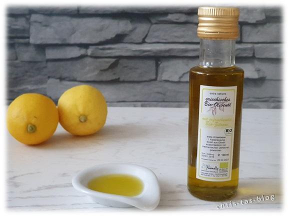 griechisches Bio-Olivenöl mit Bio-Zitronen