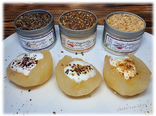 Birnen mit Zitronen-Quark gefüllt und Dessert-Grillgewürz verfeinert