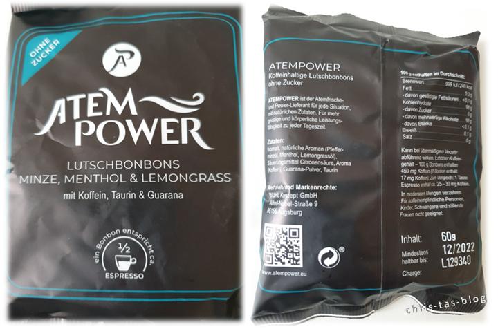 Verpackung und Inhaltsstoffe Atempower Lutschbonbons