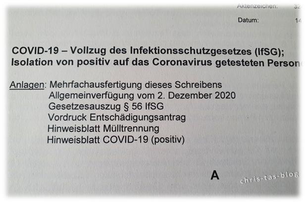 Covid-19 positiv - Isolation Anschreiben