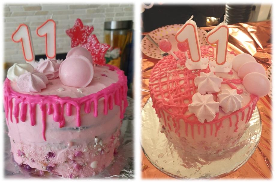 Meine beiden rosa Drip Cakes Rainbow Regenbogen