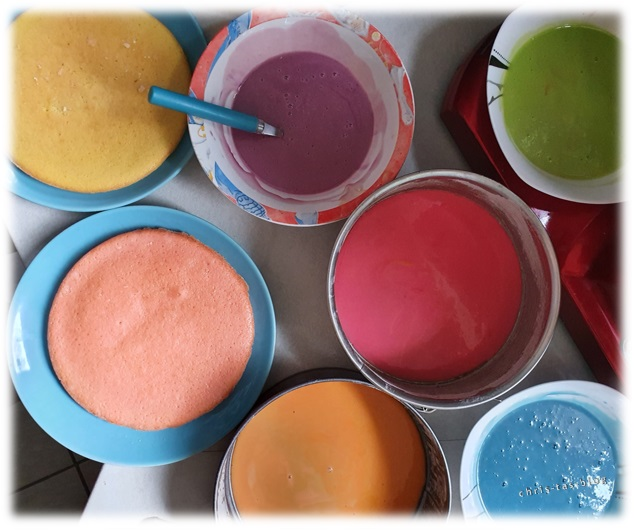 Wunderkuchen Teig mit Lebensmittelfarben eingefärbt