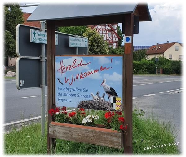 Hinweisschild Storchen-Hochburg Uehlfeld