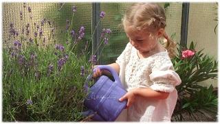 Virginia hilft Blumengiessen in Omas Garten