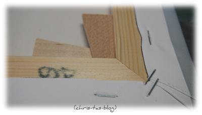 Bedruckte Leinwand auf Holzrahmen gespannt