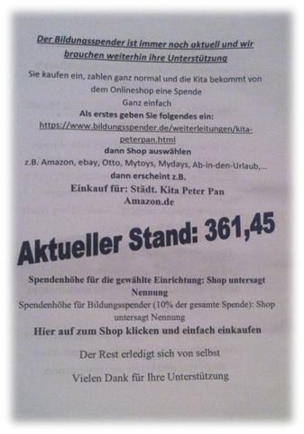 Bildungsspender unterstützt KiTa Peter Pan Heilsbronn