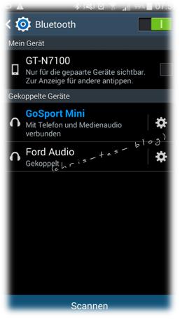 BlueTooth Verbindung am Smartphone