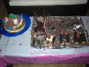 Eisenbahn-Kuchen und Hello-Kitty Deko auf Torte zum Geburtstag