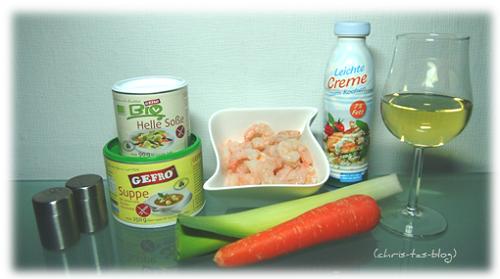 Cremesuppe mit Shrimps und Gemüse - Zutaten