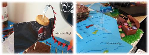 Details des Piratenschiff-Kuchens
