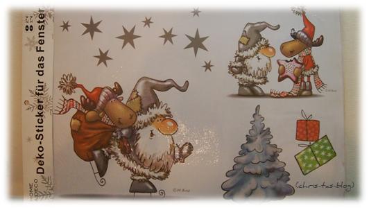 Fenstertattoo Weihnachtswichtel Rentier