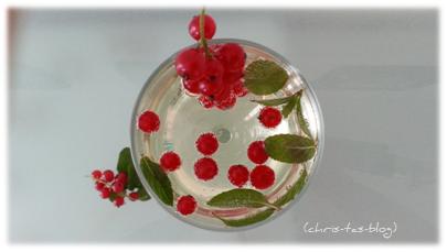 Fruchtsecco mit Johannisbeeren verfeinert