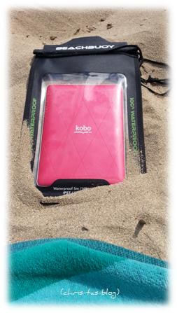 Mein ebook Reader gut geschützt am Strand