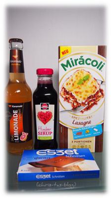 Mirácoli, eszet Schnitten, Himbeer Sirup,Karamalz Limonade