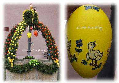 Osterbrunnen mit vielen bunten Eiern