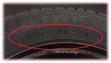 Reifengröße und Geschwindigkeitsindex auf dem Reifen