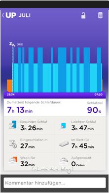 Schlafprotokoll Jawbone Up24