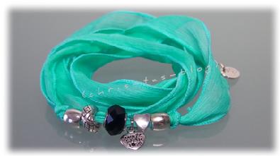 Seiden-Wickelarmband in türkis