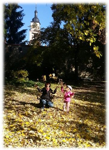 Spiel mit dem Herbstlaub