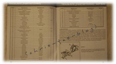 Teileliste für das Ergometer Skandika
