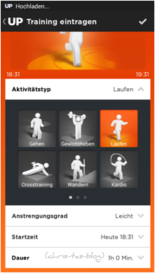 Training eingeben Up-App