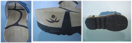 Detailfotos der Wooccoli Holzpantolette